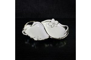 $8.49 Verdici Double Bowl with Silver Flower