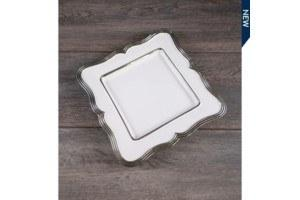 $7.49 Square Platter w/silver