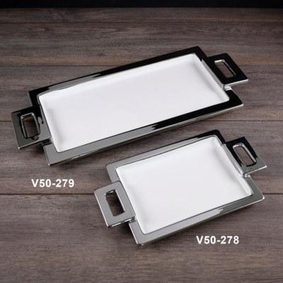 $9.49 Handle Tray Rectangle with Silver Trim