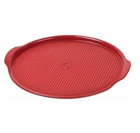"Emile Henry   14"" Round ridged pizza stone, red $59.99"
