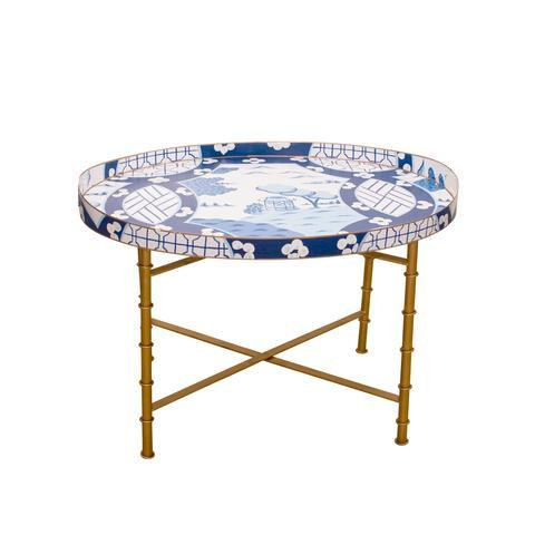 $450.00 Canton in Blue Tray Table w/ Bamboo