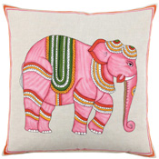 $195.00 Hand Painted Pink Elephant Decorative Pillow