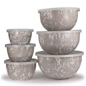 Golden Rabbit  Taupe Enamelware ~ Taupe Swirl Mixing Bowl, Set of 3  $76.00
