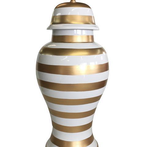 """$130.00 Gold Stripe Ginger Jar 13"""""""