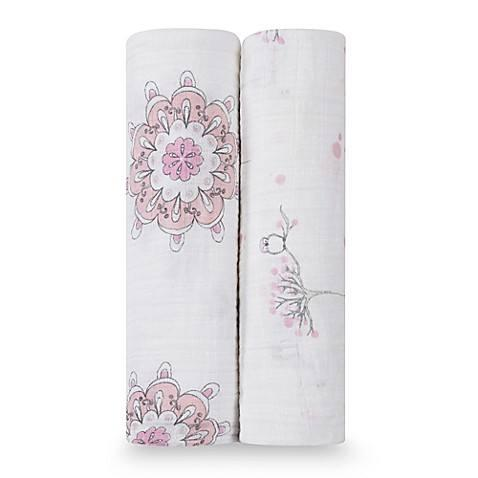 $32.00 For the Birds Two Pack Swaddle
