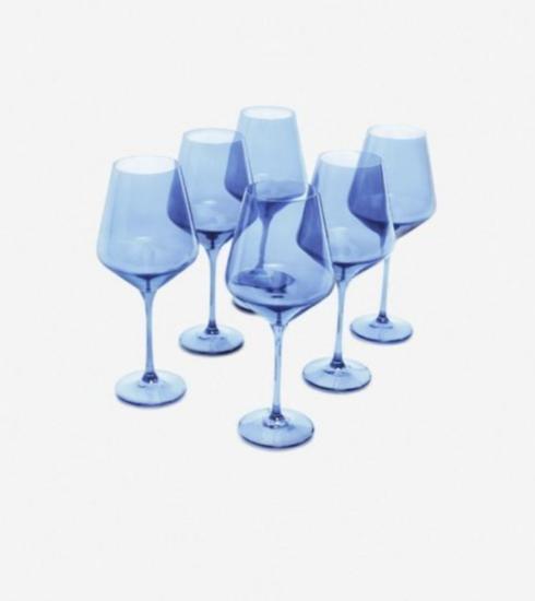 Estelle Colored Glass   Cobalt Stemmed Wine S/6 $0.00