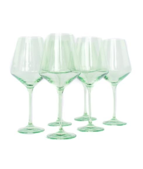 Estelle Colored Glass   Mint Green Stemmed Wine S/6 $0.00