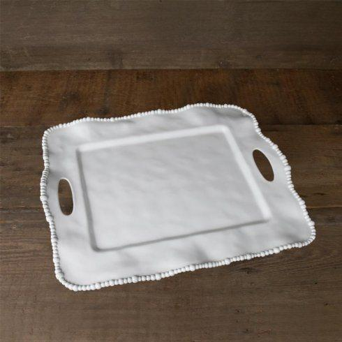 $67.00 Beatriz Ball ~ VIDA Melamine Rectangle Tray with Silver Monogram