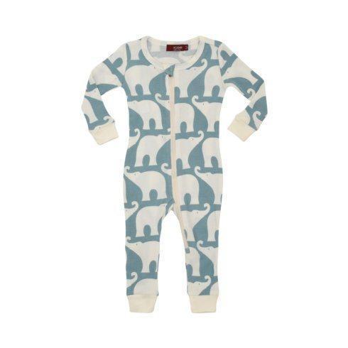 $40.00 Organic Blue Elephant Zip PJ