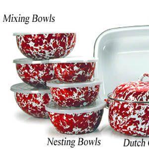 $76.00 Golden Rabbit Enamelware Red Swirl Mixing Bowls