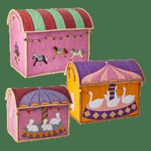 $300.00 RICE Raffia Toy Boxes s/3 Carousel