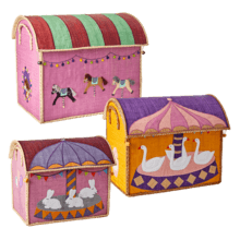 $300.00 RICE Raffia Toy Boxes s/3 Carousel