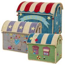 $300.00 RICE Raffia Toy Boxes s/3 Circus