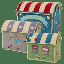 $300.00 RICE Raffia Toy Boxes s/3 Circus