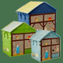 $300.00 RICE Raffia Toy Boxes s/3 Farm