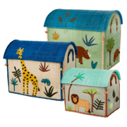 $300.00 RICE Raffia Toy Boxes s/3 B Jungle