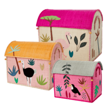 $300.00 RICE Raffia Toy Boxes s/3 G Jungle
