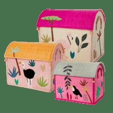 $300.00 RICE Raffia Toy Boxes s/3 G Jungle