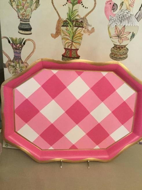 $85.00 Pink Gingham Serving Tray
