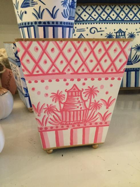 $35.00 Pink Chinoiserie Square Cache Pot