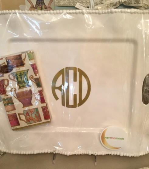 $72.00 Beatriz Ball ~ VIDA Melamine Rectangle Tray with Gold Monogram