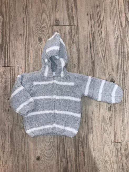 $38.00 Gray & White Stripe Chenille Jacket