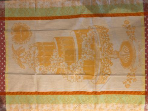 Garnier-Thiebaut Linens- Tea Towel Wedding Cake with Wedding Date Embroidered  collection with 1 products