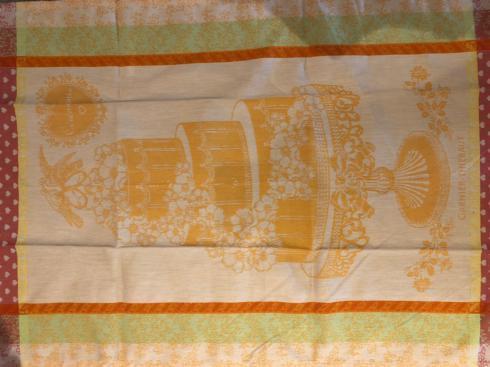 $31.00 Garnier-Thiebaut Linens- Tea Towel Wedding Cake with Wedding Date Embroidered