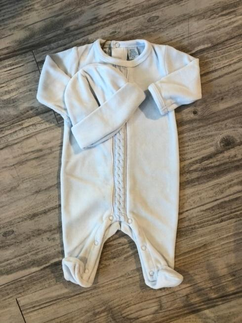 $52.00 Pale Blue Velour Romper and Hat
