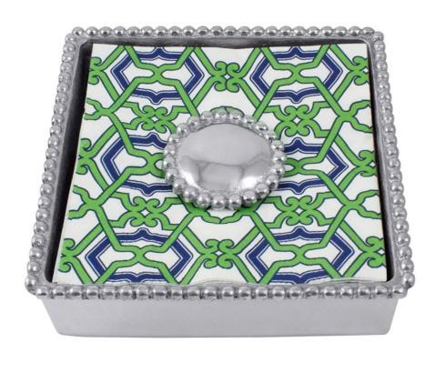 $55.00 Mariposa ~ Napkin Boxes and Weights ~ String of Pearls ~ Jacki Pearled Beaded Napkin Box with Monogram