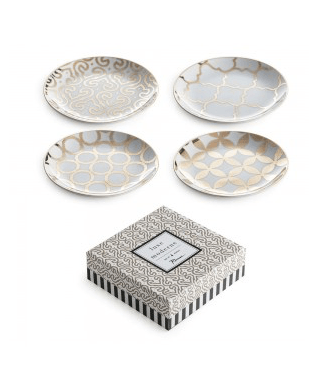 $66.00 Luxe Moderne Gold Canape Plates, Set of 4