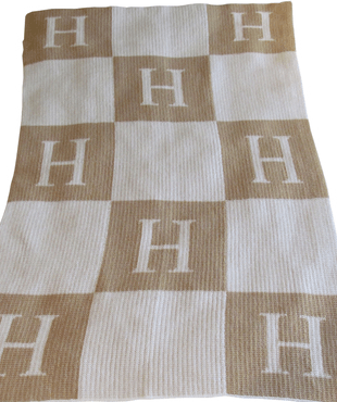 $225.00 Butterscotch Blankets, Initial and Blocks Blanket XL Grey