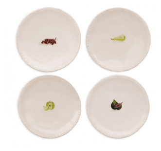 Magenta Rae Dunn Fruit Stitched Plates Set of Four