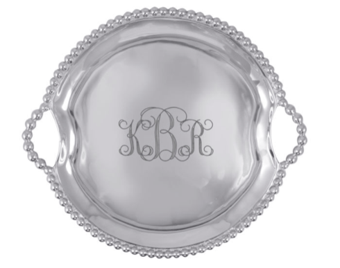 $170.00 Monogrammed Pearled Handled Round Tray