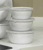 Golden Rabbit  White Nesting Bowls, White $40.00