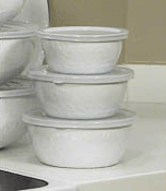Golden Rabbit  White Nesting Bowls, White $34.00