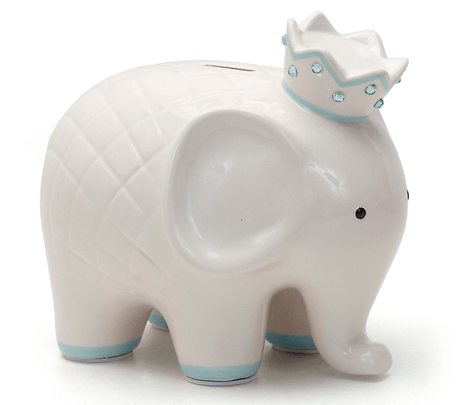 $44.00 Coco Blue Elephant Bank w/Vinyl Monogram