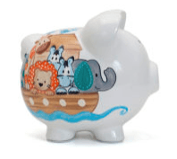 $38.00 Noah\'s Ark Bank w/Vinyl Monogram
