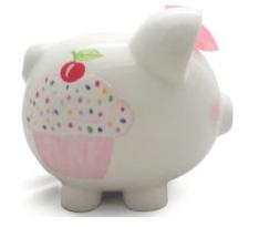 $38.00 Sprinkle Piggy Bank w/Vinyl Monogram