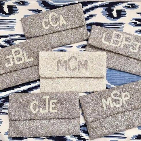 Custom Beaded Bag w/ Monogram and Wedding Date