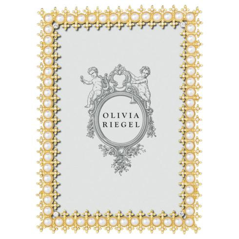 "$100.00 Gold Crystal & Pearl 5"" x 7"" Frame"