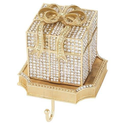 $375.00 Crystal Pavé Gift Box Stocking Holder