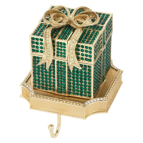$375.00 Emerald Pavé Gift Box Stocking Holder
