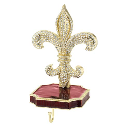 $210.00 Fleur de Lis Stocking Hanger in Goldtone Metal