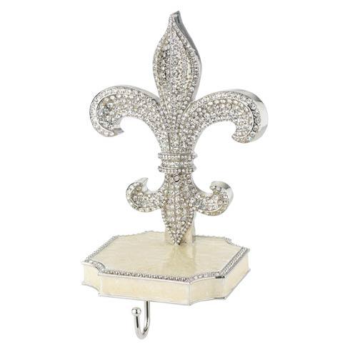 $210.00 Fleur de Lis Stocking Hanger in Silvertone Metal