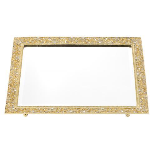 $275.00 Gold Windsor Beveled Mirror Tray