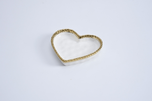 Pampa Bay  Love is in the Air Mini Heart Dish White with Gold Trim $10.00