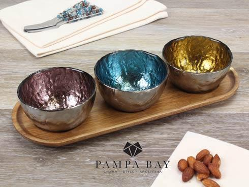 Set Of 3 Colored Glass Bowls & Tray-4Pc.