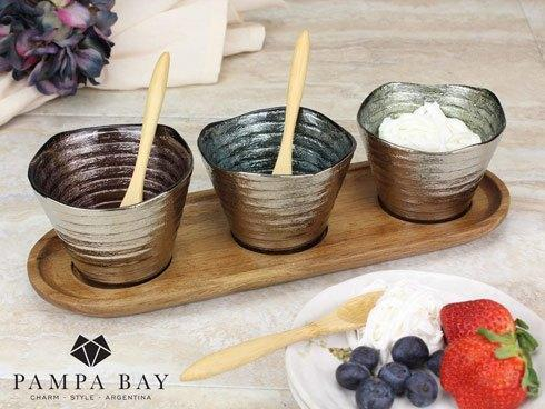 Pampa Bay  Let's Entertain Set of 3 Glass Bowls w/ Tray & Spoons $50.00