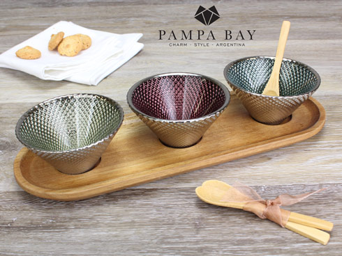 $50.00 Set of 3 Glass Bowls w/ Tray & Spoons